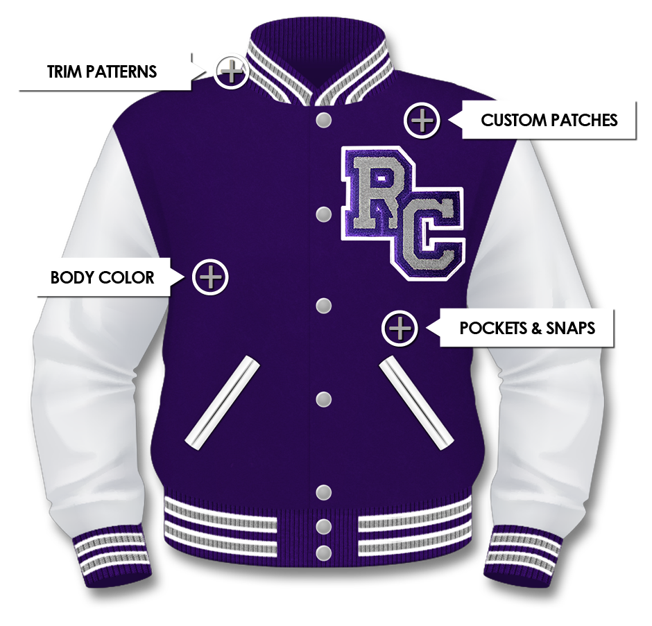 Unisex Purple College Wool Varsity Jacket with Hood /& White Real Leather Sleeves